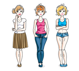 Happy cute young adult girls standing wearing casual clothes. Vector diversity people illustrations set.