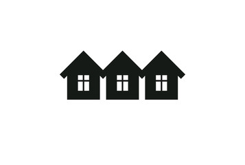 Abstract simple country houses vector illustration, homes image. Touristic and real estate idea, three cottages front view. Real estate business or property developer corporate theme.