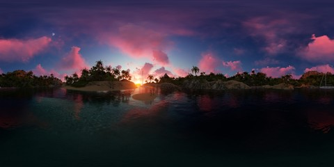 beautiful 360 panorama of a palms beach of an island