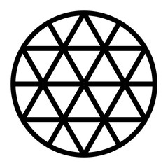 Black hexagram grid generated by lines in a circle. Triangle pattern forming a star figure, also called sexagram or Star of David. Isolated illustration on white background. Vector.