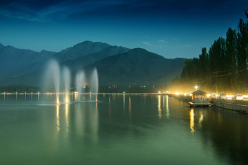Fountains on Dal lake, Srinagar, J&K, India