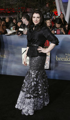 """Writer Stephenie Meyer poses at the premiere of """"The Twilight Saga: Breaking Dawn - Part 2"""" in Los Angeles"""