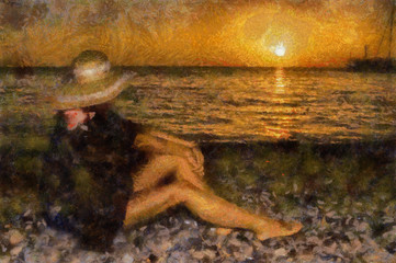 A girl in a hat with beautiful slender long legs watching the sunset on the sea.