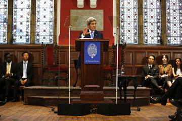 U.S. Secretary of State John Kerry speaks at the Oxford Union in Oxford