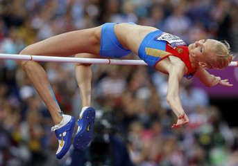 Russia's Irina Gordeeva competes in the women's high jump final at the London 2012 Olympic Games