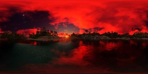 Photo sur Plexiglas Rouge beautiful 360 panorama of a palms beach of an island