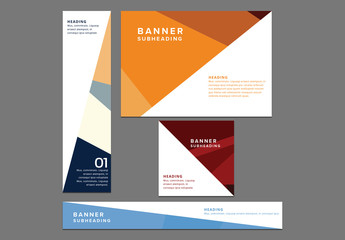 Four Web Banners with Geometic Patterns