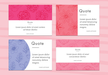 Four Floral Quote Postcard Layouts
