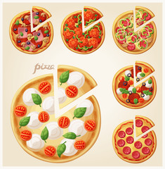 Pizza top view set. Italian whole pizza with slices. Set 2