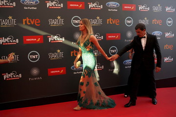 Spanish actor and director Banderas and his girlfriend Kimpel arrive at the second Premios Platino Ibero-American Film Awards in Marbella