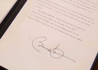 The signature of U.S. President Obama on a proclamation establishing the Organ Mountains-Desert Peaks National Monument in south-central New Mexico is seen at the Department of Interior in Washington