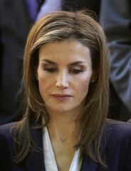 Spain's new Queen Letizia takes part in a minute of silence during an event to show support for victims of terrorism in Madrid