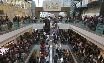 Shoppers crowd the walkways on opening day of the Westfield Stratford City in east London