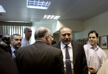 Israel's Foreign Minister Avigdor Lieberman arrives to the weekly cabinet meeting in Jerusalem