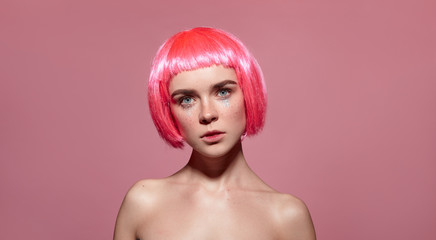 Beautiful model in pink wig