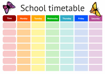 Vector school timetable, weekly curriculum design template