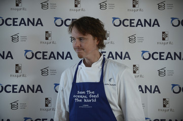 """Chef Grant Achatz poses during the presentation of """"Save the Ocean Feed the World"""" at the Basque Culinary Centre in San Sebastian"""