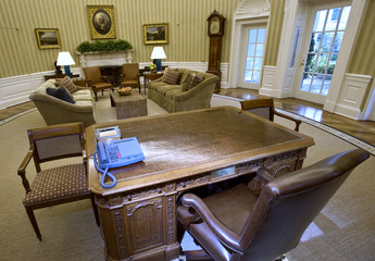 New rug, sofas and wallpaper are part of the redecorated Oval Office of U.S. President Barack Obama at the White House