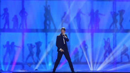 "Donny Montell of Lithuania performs his song ""Love Is Blind"" during the Grand Final of the Eurovision song contest in Baku"