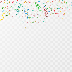 Colorful party confetti on a transparent background