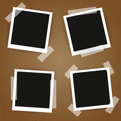 Old photo frames.Photo frames isolated on wooden background.Vector illustration.