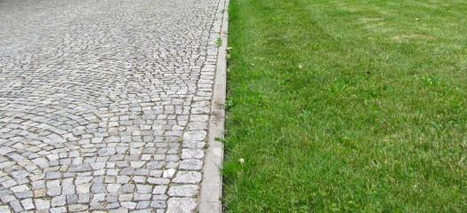 Pavement and grass texture