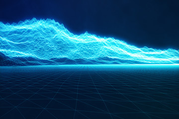 3D illustration concept internet connections in cloud computing. Cyberspace landscape grid. 3d technology. Abstract blue landscape on black background with light rays.