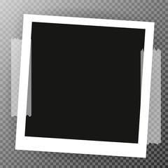 Photo Frame with shadow on Adhesive Sticky Tape Scotch, on isolate background, vector template for your stylish photos or images, EPS10