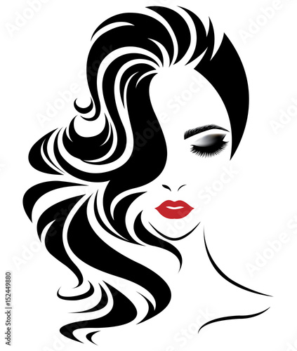 """women long hair style icon, logo women face on white ..."