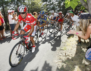 "Katusha Team rider Rodriguez cycles to win next to Team Saxo Bank rider Contador during the sixth stage of the Tour of Spain ""La Vuelta"" cycling race between Tarazona and Jaca"