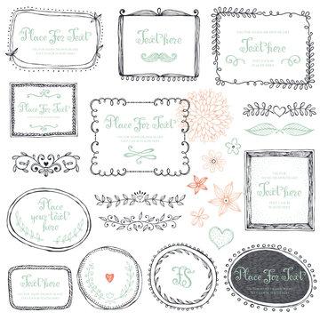 Hand drawn frames, flowers, floral dividers and design elements. Vector illustration.