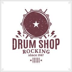 Vector drum shop logo