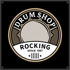 Vector drum shop logo