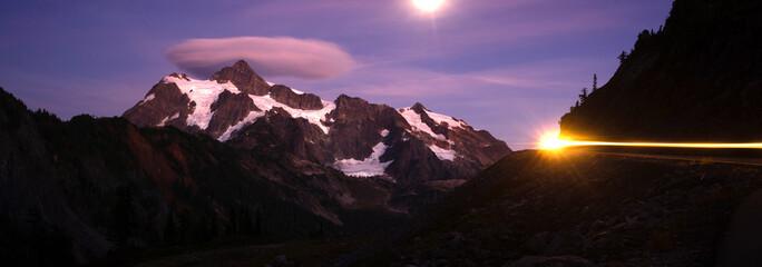 Mount Mt Shuksan Bright Moon Night Car Headlights