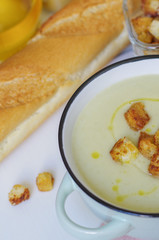 Bowl of vegetable soup. Cauliflower soup puree with croutons.