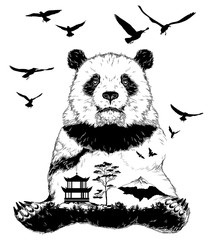 Vector Double exposure, panda bear