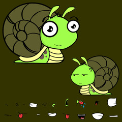 adorable little snail cartoon expressions set in vector format very easy to edit