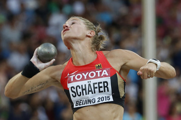 Carolin Schaefer of Germany competes in the shot put event of the women's heptathlon during the 15th IAAF World Championships at the National Stadium in Beijing