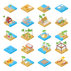 Beach Vacation Collection with Bungalow, Boat, Palm Trees and Tropical Elements. Isometric vector flat 3d illustration