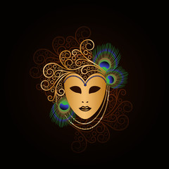 golden mask with peacock feathers