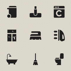 Set Of 9 Editable Hygiene Icons. Includes Symbols Such As Broomstick, Bathroom, Restroom And More. Can Be Used For Web, Mobile, UI And Infographic Design.