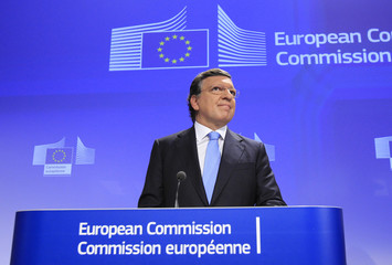 European Commission President Jose Manuel Barroso makes a speech at the EC headquarters in Brussels after the European Union won the Nobel Peace Prize