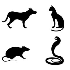 A set of animal silhouettes. A dog, a cat, a cobra or a snake, a rat or a mouse.