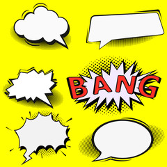 Fototapete - Big Set of Cartoon,Comic Speech Bubbles, Empty Dialog Clouds with Halftone Dot Background in Pop Art Style. Vector Illustration for Comics Book , Social Media Banners, Promotional Material