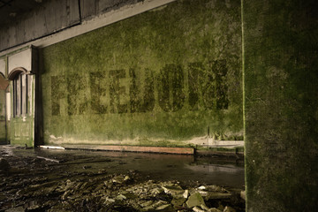 text freedom on the dirty old wall in an abandoned ruined house