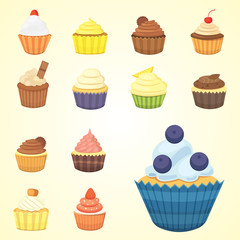 Set of cute vector cupcakes and muffins. Colorful cupcake isolated for food poster design.
