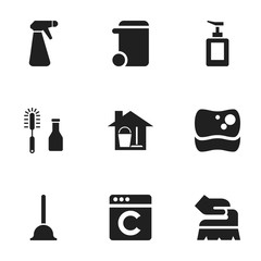 Set Of 9 Editable Dry-Cleaning Icons. Includes Symbols Such As Scrub, Washing Tool, Pulverizer And More. Can Be Used For Web, Mobile, UI And Infographic Design.
