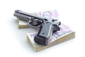 Handgun and money.