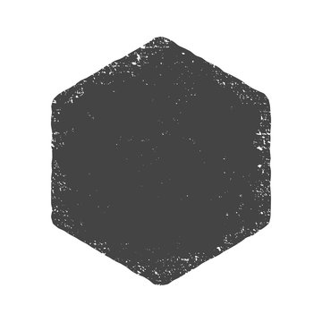 Grunge hexagon shape. Dirty texture vector illustration