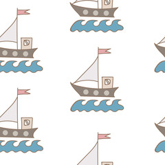 Seamless pattern with soft color ship with flag and wave on white background
